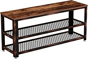 """Rolanstar Shoe Bench, Sturdy Long Shoe Rack Bench with Mesh Shelves, Rustic Storage Bench with Stable Metal Frame for Entryway, Mudroom 39.4"""""""