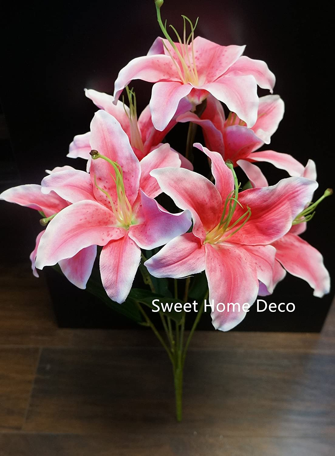 Amazon sweet home deco 22 silk stargazer lily artificial amazon sweet home deco 22 silk stargazer lily artificial flower bouquet 7 flower heads homewedding decoration pink home kitchen izmirmasajfo