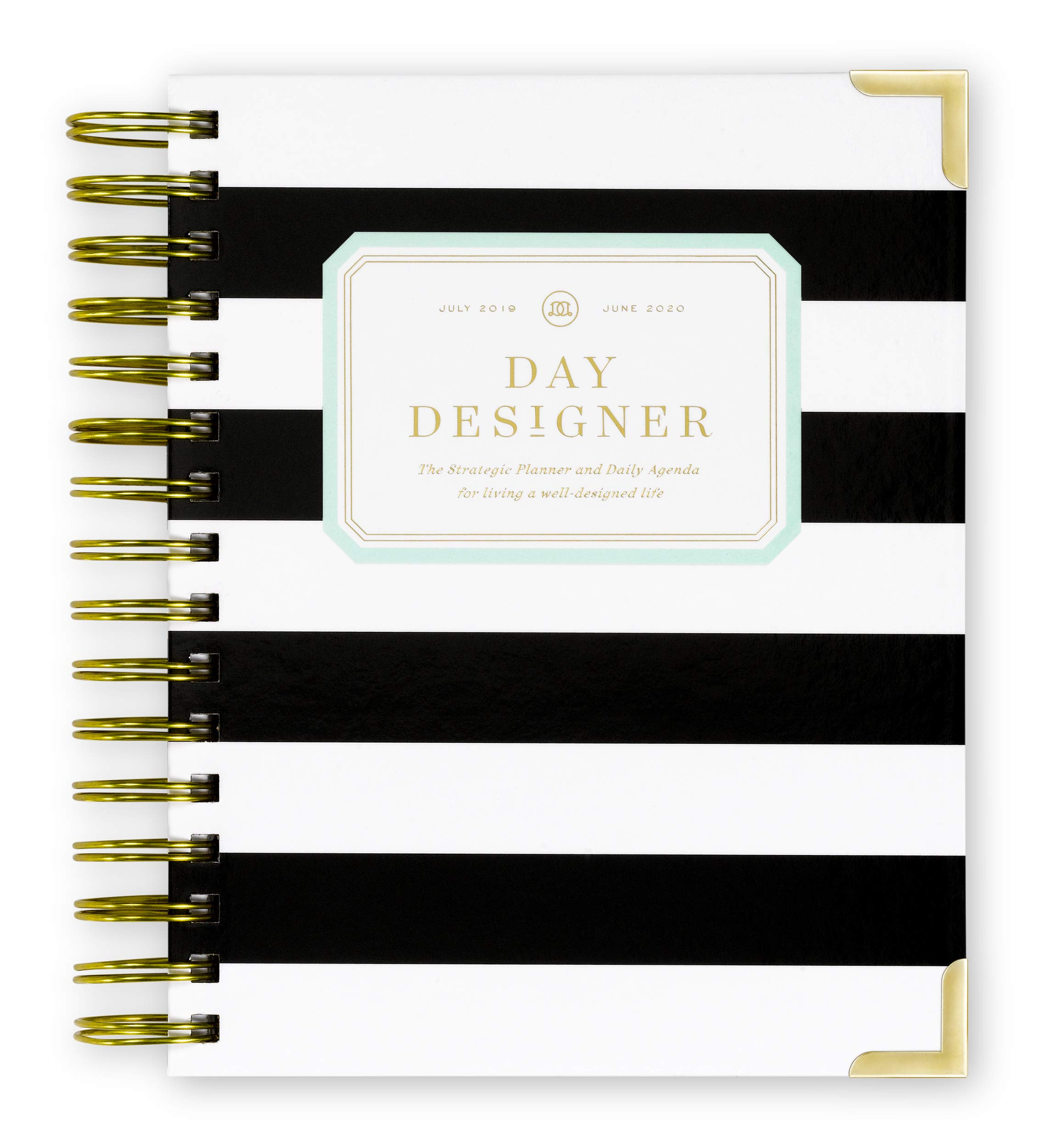 Day Designer 2019-2020 Mini Daily Life Planner and Agenda, Hardcover, Twin-Wire Binding, 6.625'' x 8.3'', Black Stripe