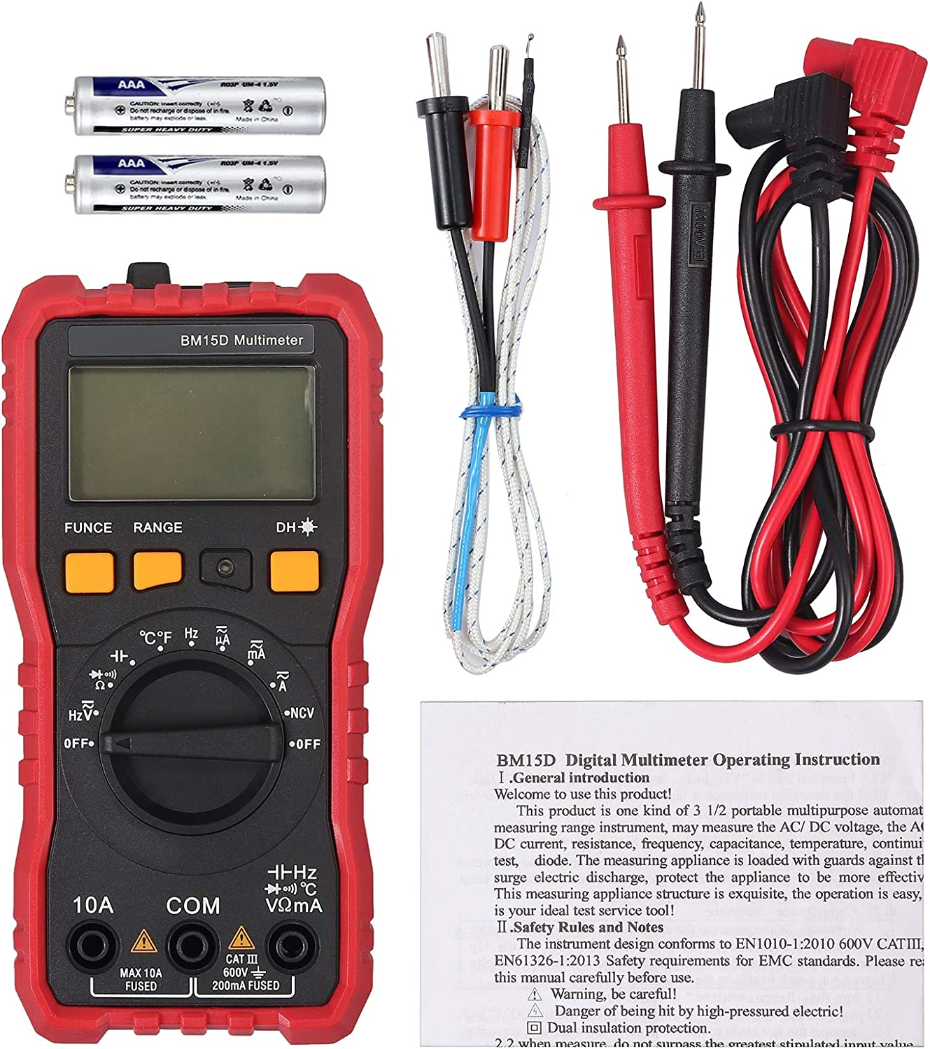 Neoteck Digital Multimeter 2000 Counts TRMS NCV ACVHz AC DC Current Voltage Capacitance Hz Temperature Diode Continuity with 2 Probe Holders And Flash Light