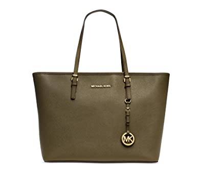 6b961ccf2a12 Michael Kors Jet Set Travel Top Zip Tot Olive Green Bag New  Handbags   Amazon.com