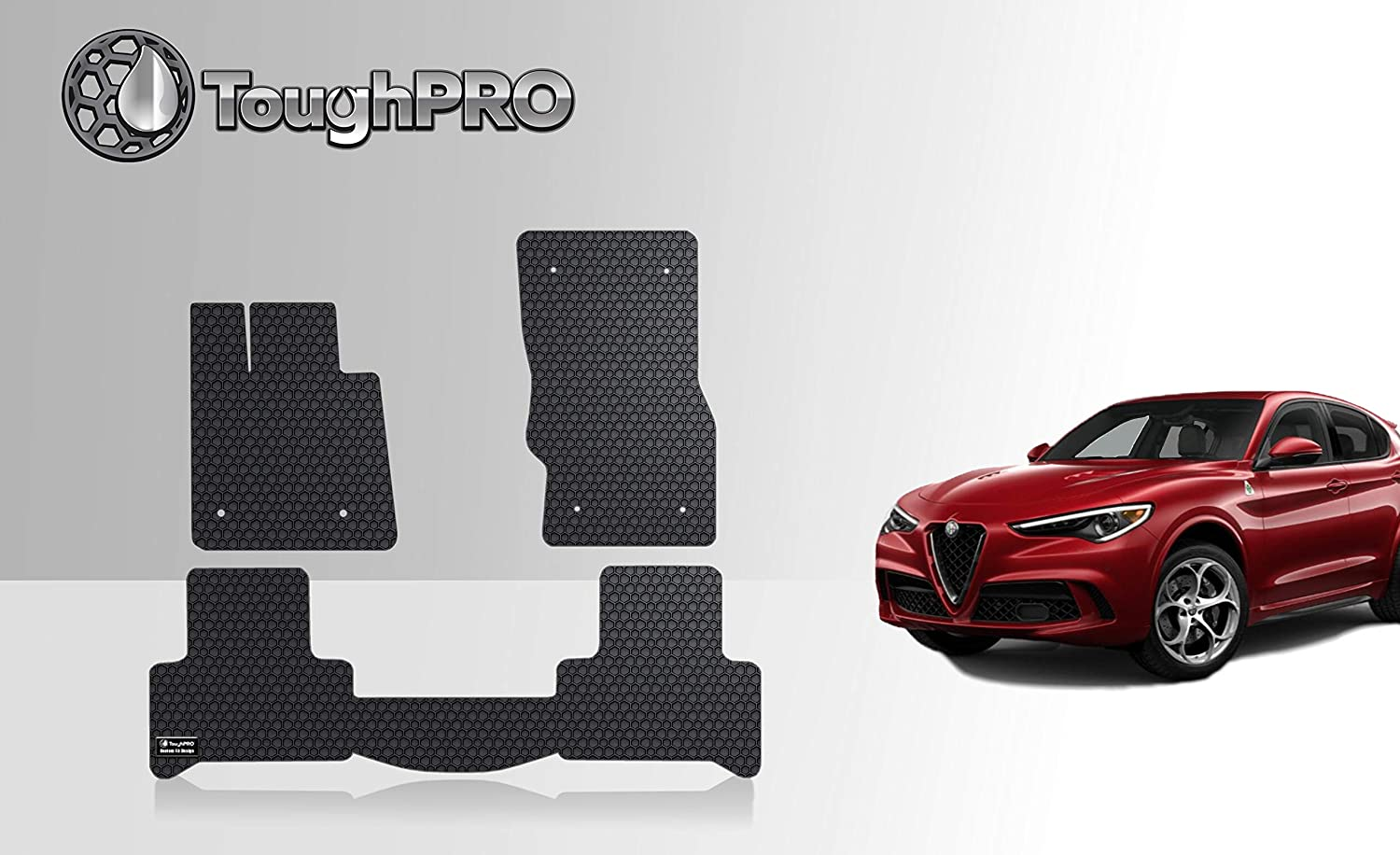 ToughPRO Floor Mats Set (Front Row + 2nd Row) Compatible with Alfa Romeo Stelvio - All Weather - Heavy Duty - (Made in USA) - Black Rubber - 2018, 2019, 2020