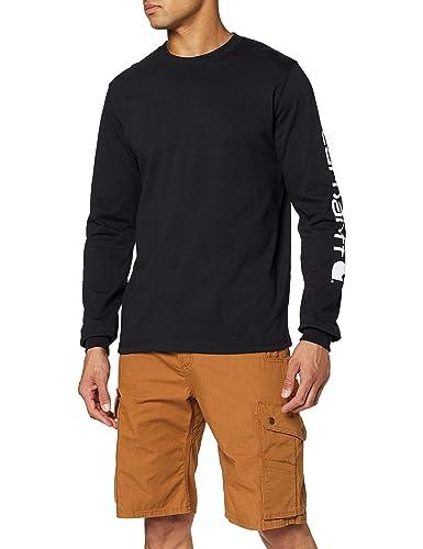 Carhartt EK231.S005 - Camiseta de manga larga con logo, Negro, M