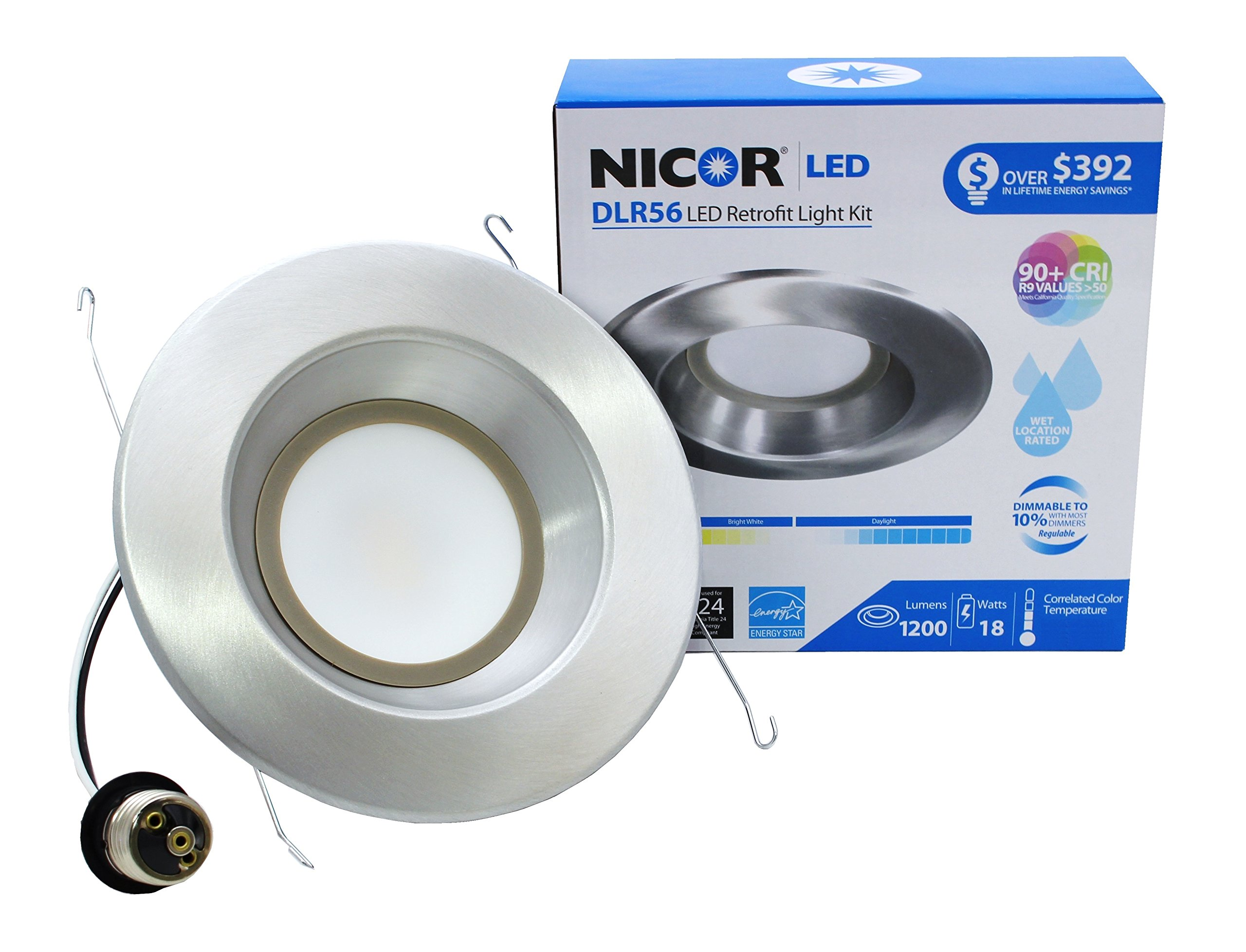 NICOR Lighting 5/6-Inch Dimmable 1200-Lumen 2700K LED Downlight Retrofit Kit for Recessed Housings, Nickel Trim (DLR56-3012-120-2K-NK)