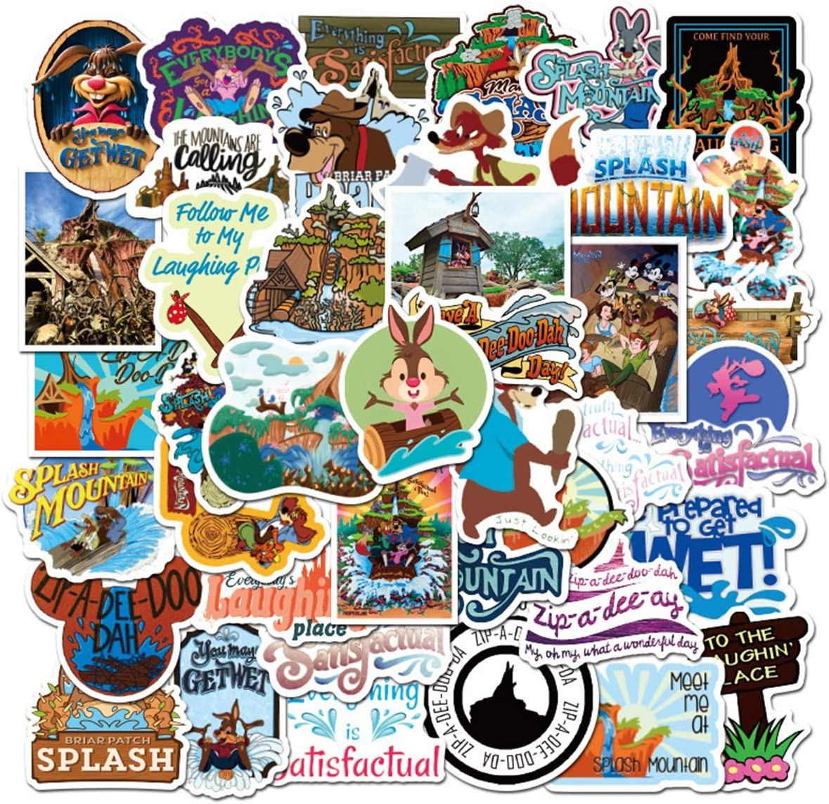 50pcs Splash Mountain Stickers Laptop Adult Sticker Waterproof Stickers Luggage Skateboard Water Bottle Stickers Decal Bicycle Bumper Snowboard Decorate (Splash Mountain