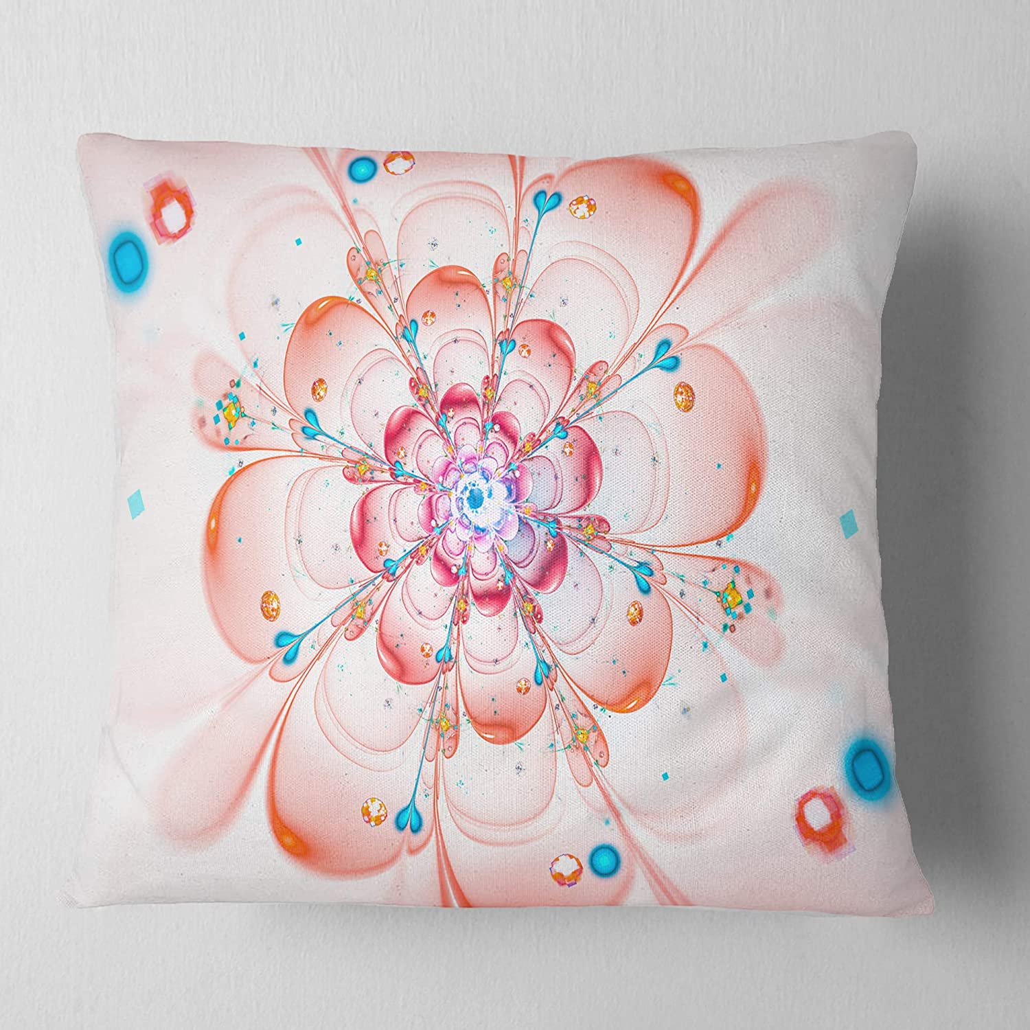 x 16 in Sofa Throw Pillow 16 in Insert Printed On Both Side Designart CU12154-16-16 Pink Fractal Flower Petals Close up Floral Cushion Cover for Living Room in