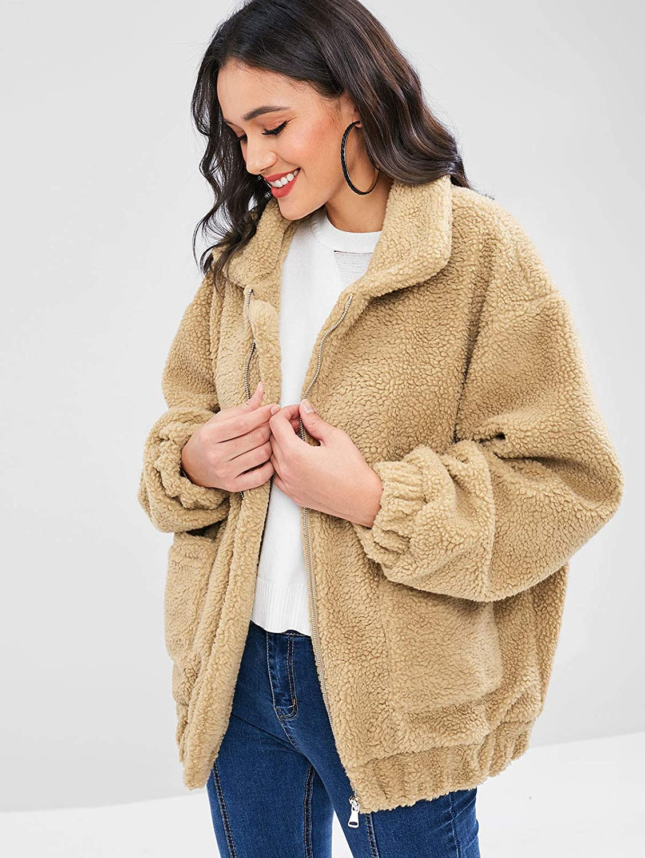 ZAFUL Womens Fluffy Faux Fur Zip Up Front Pocket Cozy Teddy Coat Jacket