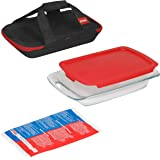 Pyrex Portables Glass Food Bakeware and Storage Containers (4-Piece Set, Insulated Carrier, BPA Free Lids)