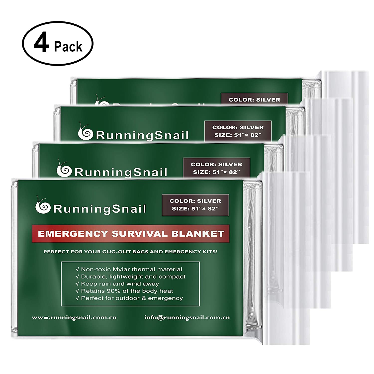 Camping RunningSnail Emergency Mylar Space Blanket for Survival Kit Car and Home Hiking Go-Bag Marathons First Aid Kit