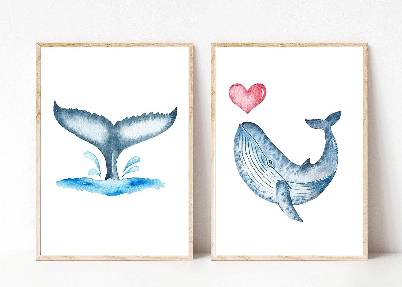 blau Deko Wal Blauwal Walflosse Herz Meerestier Ozean Maritim Aquarell Din A4 Kunstdruck ungerahmt 2-teilig Badezimmer Geschenk Druck Poster Bild