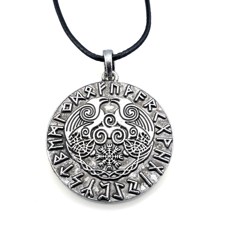 Halskette Viking Rabe Helm Of Awe Hugin Munin Kette Wikinger Mittelalter Schmuck