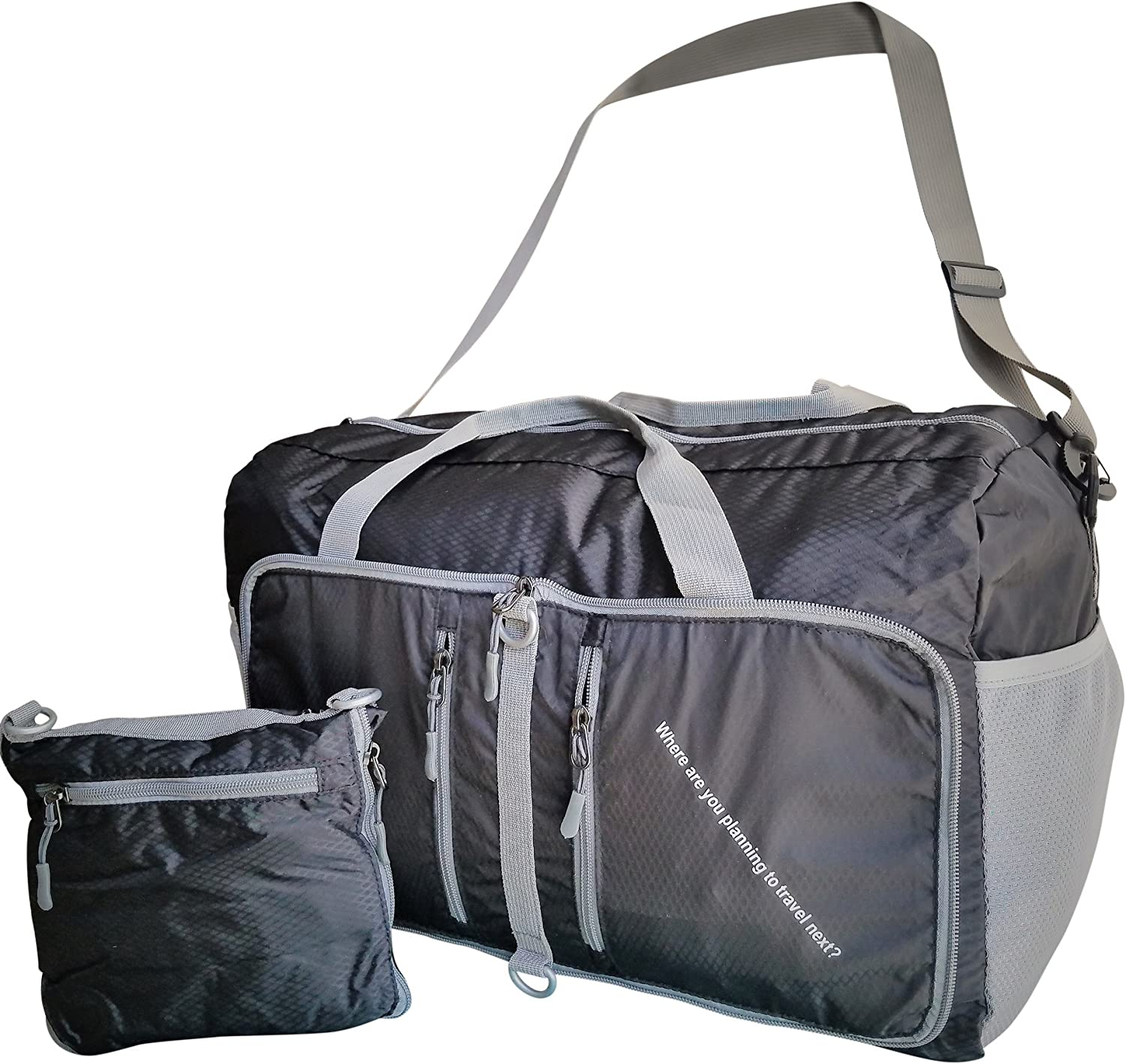 Fordable Duffel for Men & Women Teenagers Sports Gym Carry-on Luggage - Lightweight Travel Duffel Bag plus 2 Multi-functional Shoe Packing Cubes