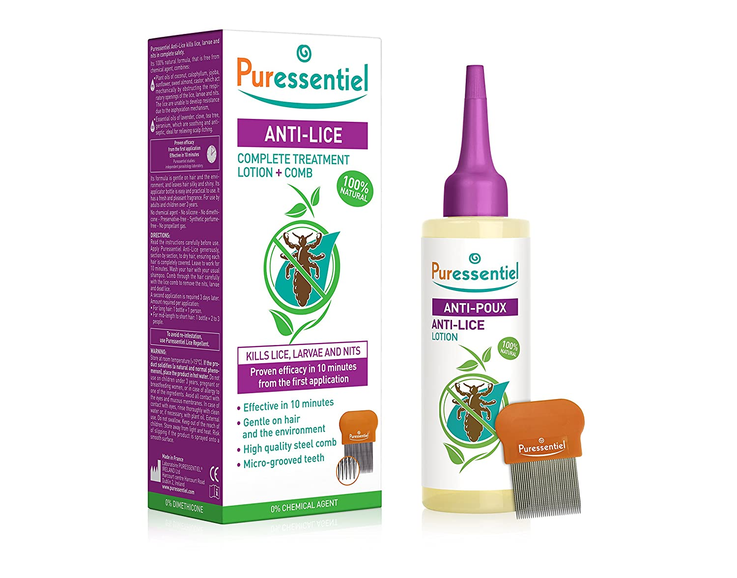 Puressentiel Anti-Lice Treatment Lotion and Comb 100 ml - head lice lotion, 100% natural origin, proven efficacy in 10 minutes, micro-grooved comb included: ...