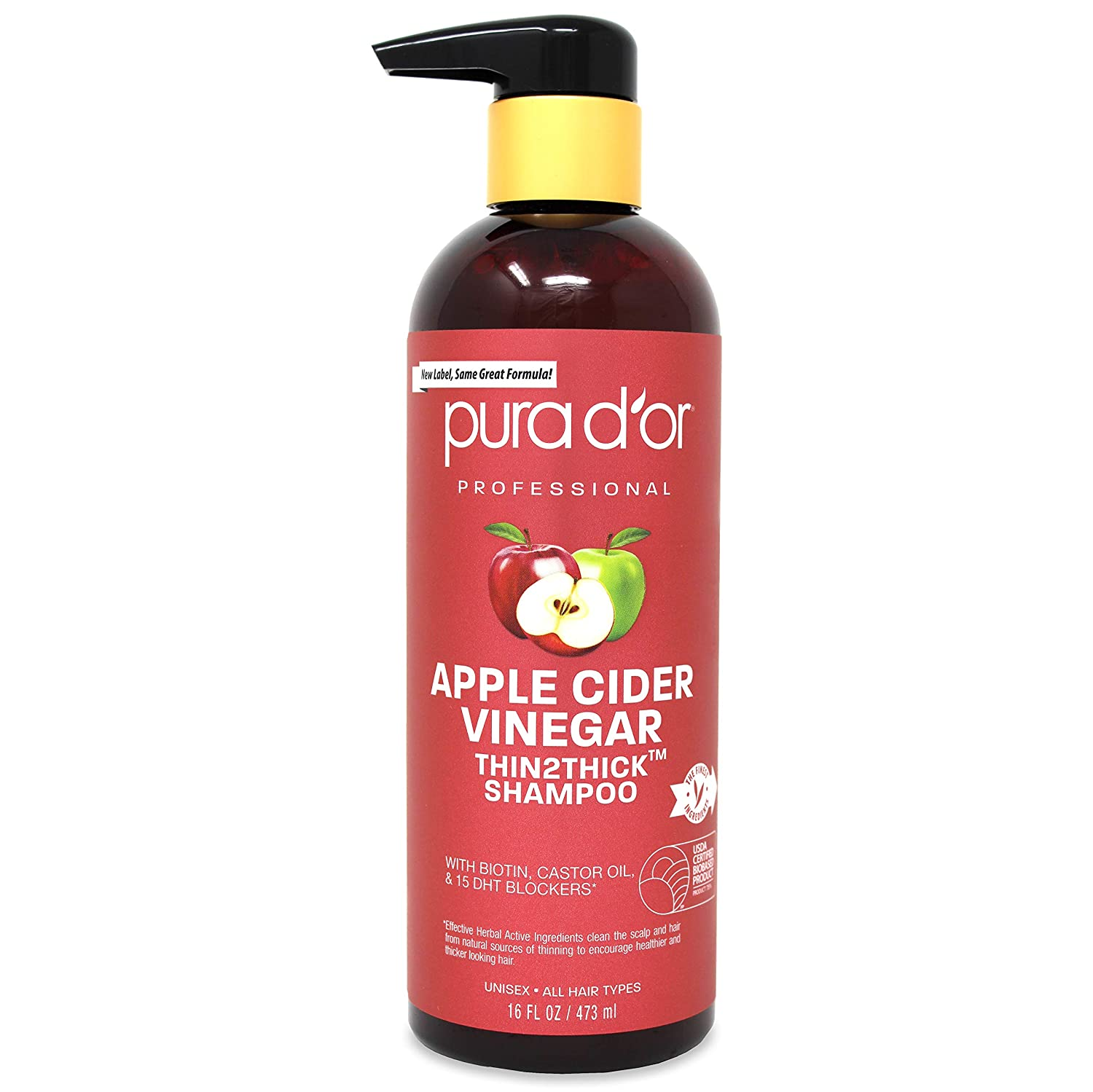 PURA D'OR Apple Cider Vinegar Thin2Thick Shampoo With Biotin, Castor Oil - For Reduced Frizz, Split Ends - Clarifying and Detox - No Parabens, No Sulfates - All Hair Types, Men & Women, 16 Fl Oz