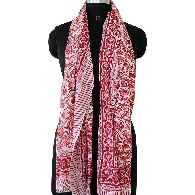 07a1ee0b51b Amazon.com: Indian Hand Block Printed Scarf 100% Cotton Sarong Wrap ...