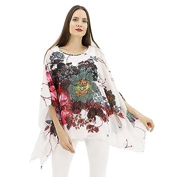 c3d30b3005 BENANCY Women's Floral Printed Chiffon Tunic Tops Loose Batwing Blouse S