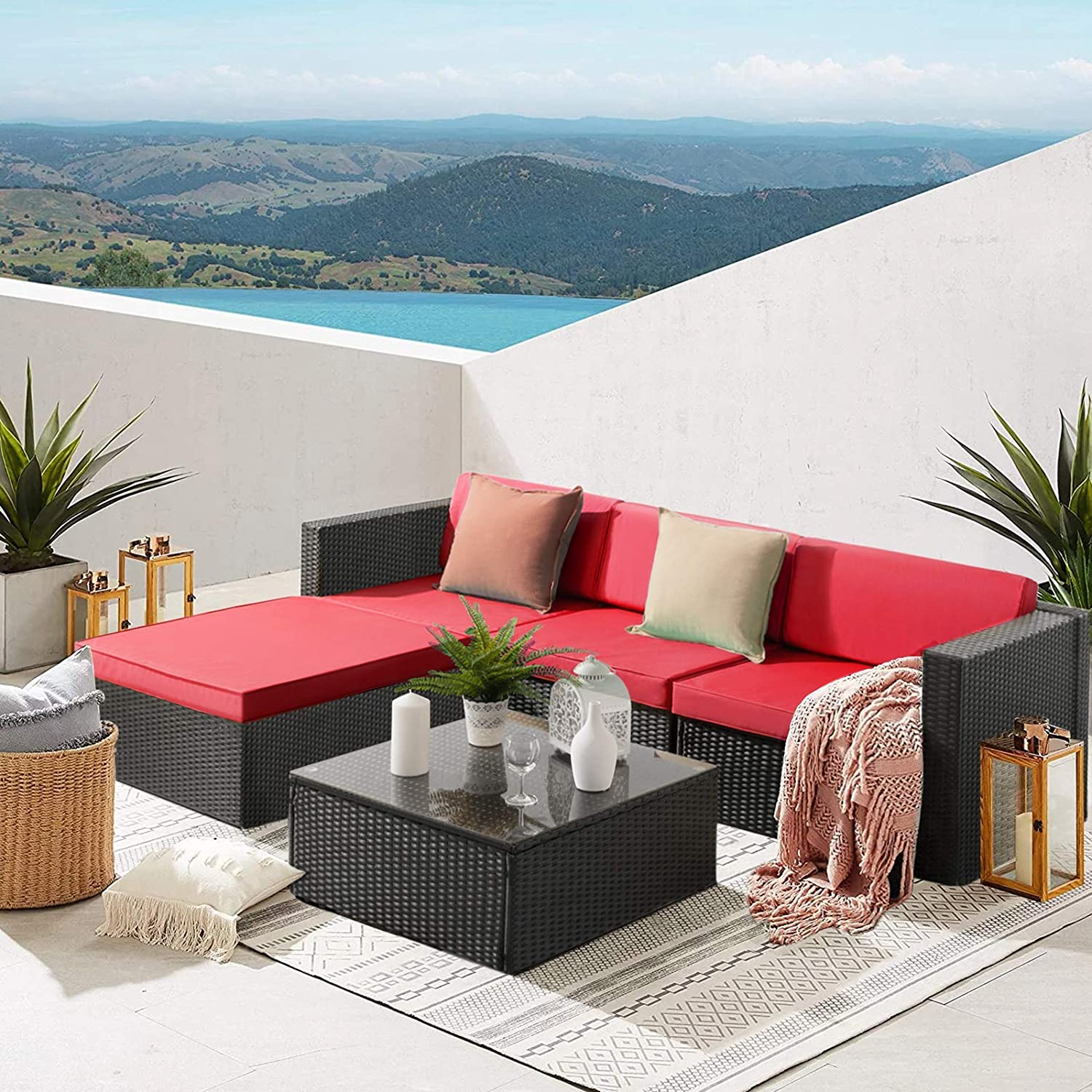 Waleaf Upgraded Outdoor Furniture Rattan Sectional Patio Sofa, Outdoor Indoor Backyard Porch Garden Poolside Balcony Wicker Conversation Set with Glass Table (5 pcs, Red)