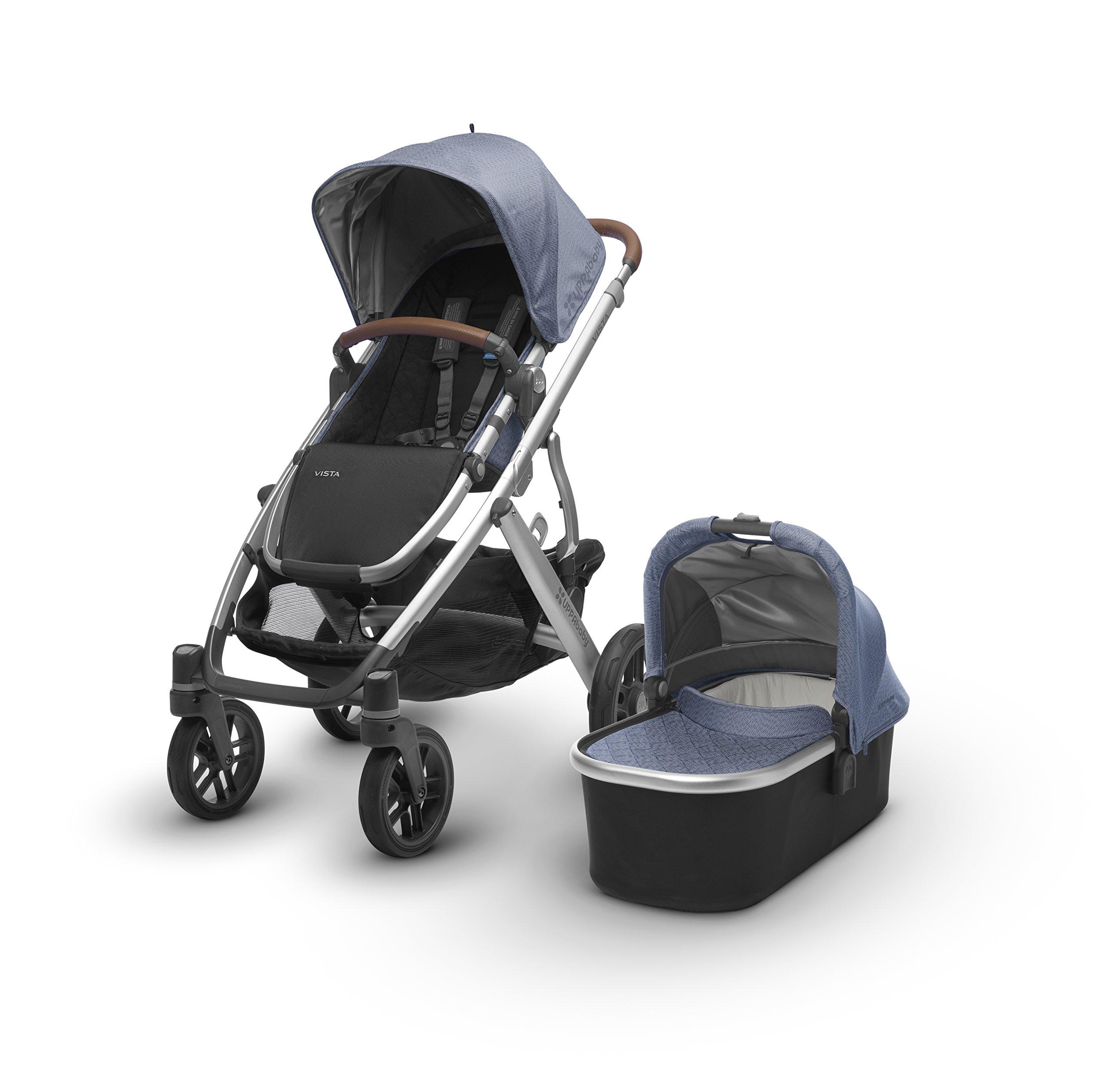 UPPAbaby VISTA Stroller, Blue Marl/Silver/Leather, Henry