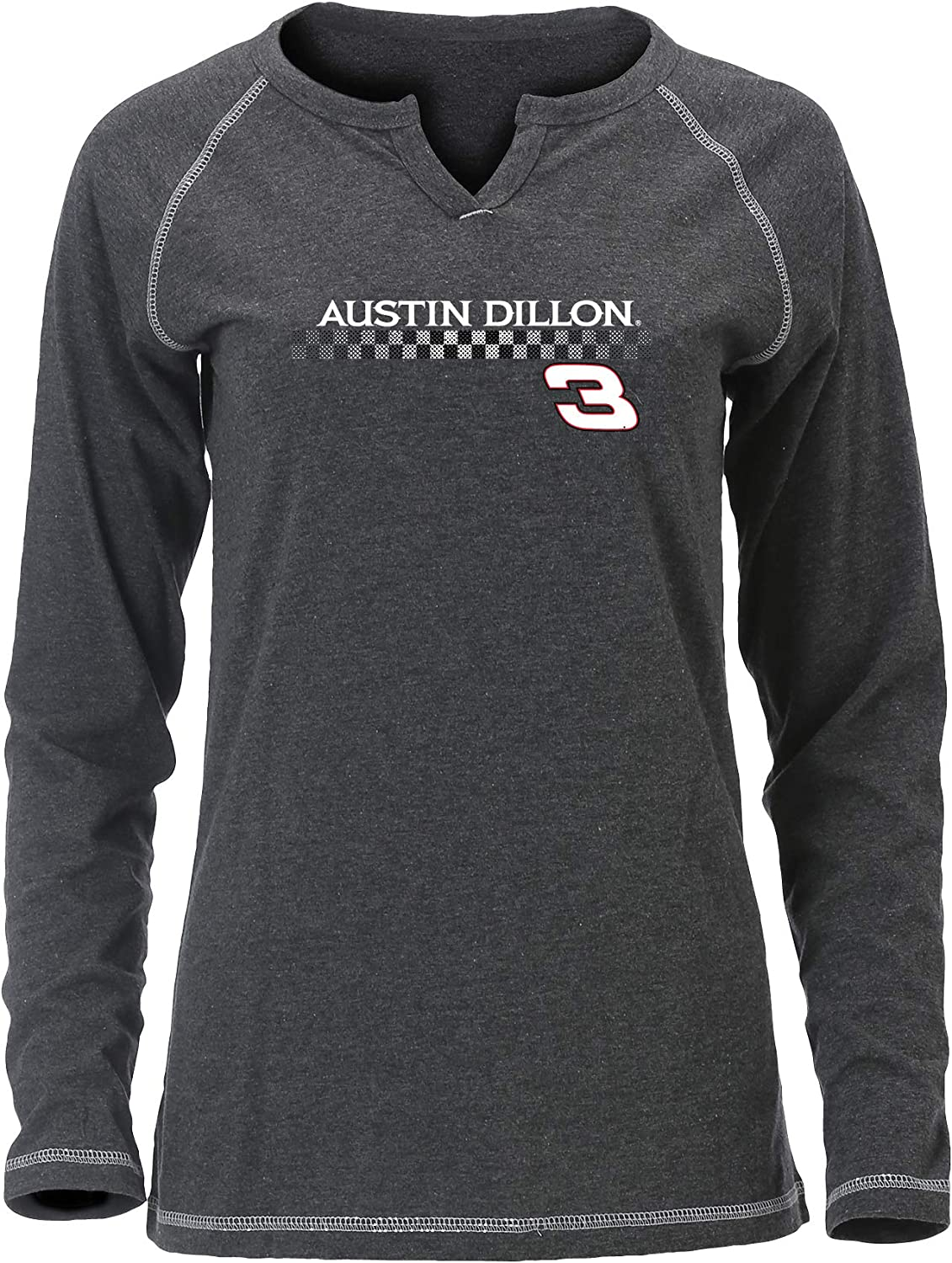 Ouray Sportswear NASCAR Womens W Groove L//S T Austin Dillon Large Charcoal Heather