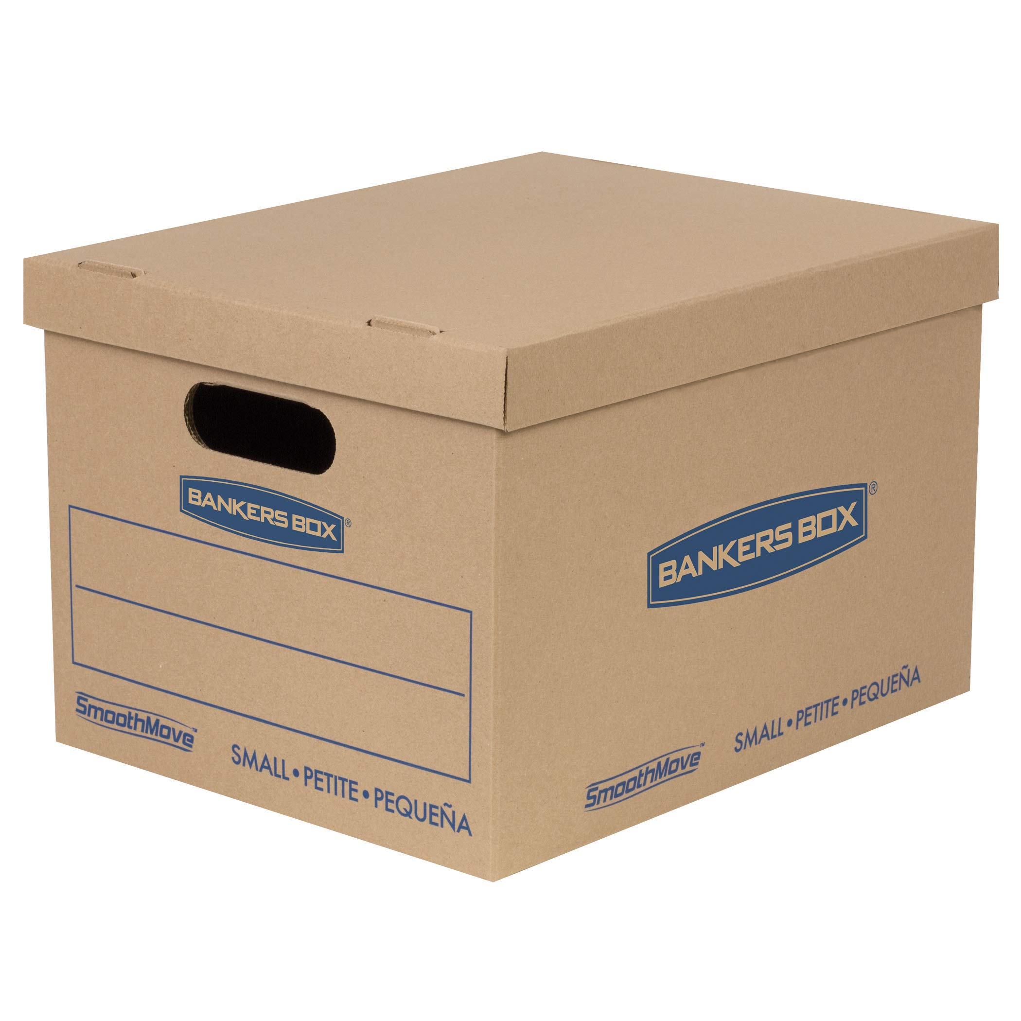 Bankers Box SmoothMove Classic Moving Boxes, Tape-Free Assembly, Easy Carry Handles, Small, 15 x 12 x 10 Inches, 5 Pack (7714902) by Bankers Box