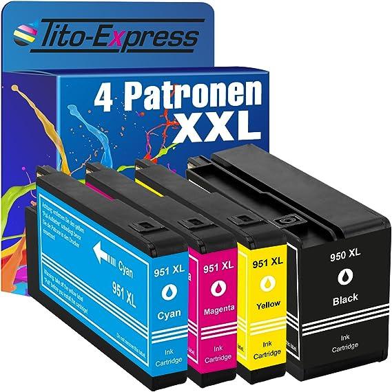 Tito Express Platinumserie 4 Patronen Xxl Passend Zu Hp 950 Xl 951 Xl Pigment Tinte Geeignet Für Hp Officejet Pro 276dw 251dw 8610 8660 8640 8630 8600 Plus 8616 8100 8600 8620 8615 8625 8600 Bürobedarf Schreibwaren