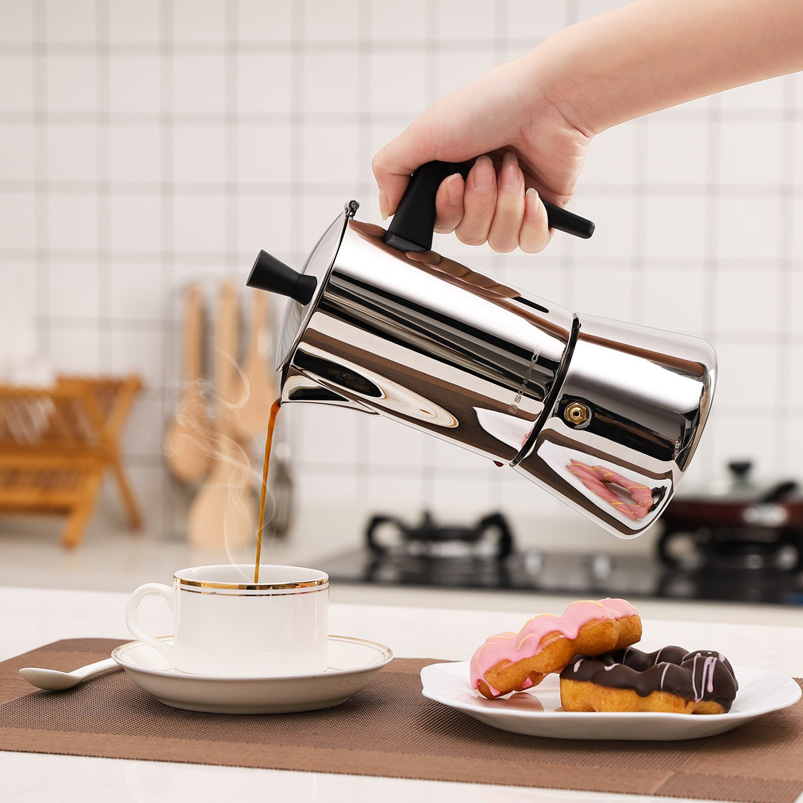 SONGMICS 6-Cup Stovetop Espresso Coffee Maker Moka Pot with Patented Valve, 18/8 Stainless Steel UKEM10BK by SONGMICS (Image #3)