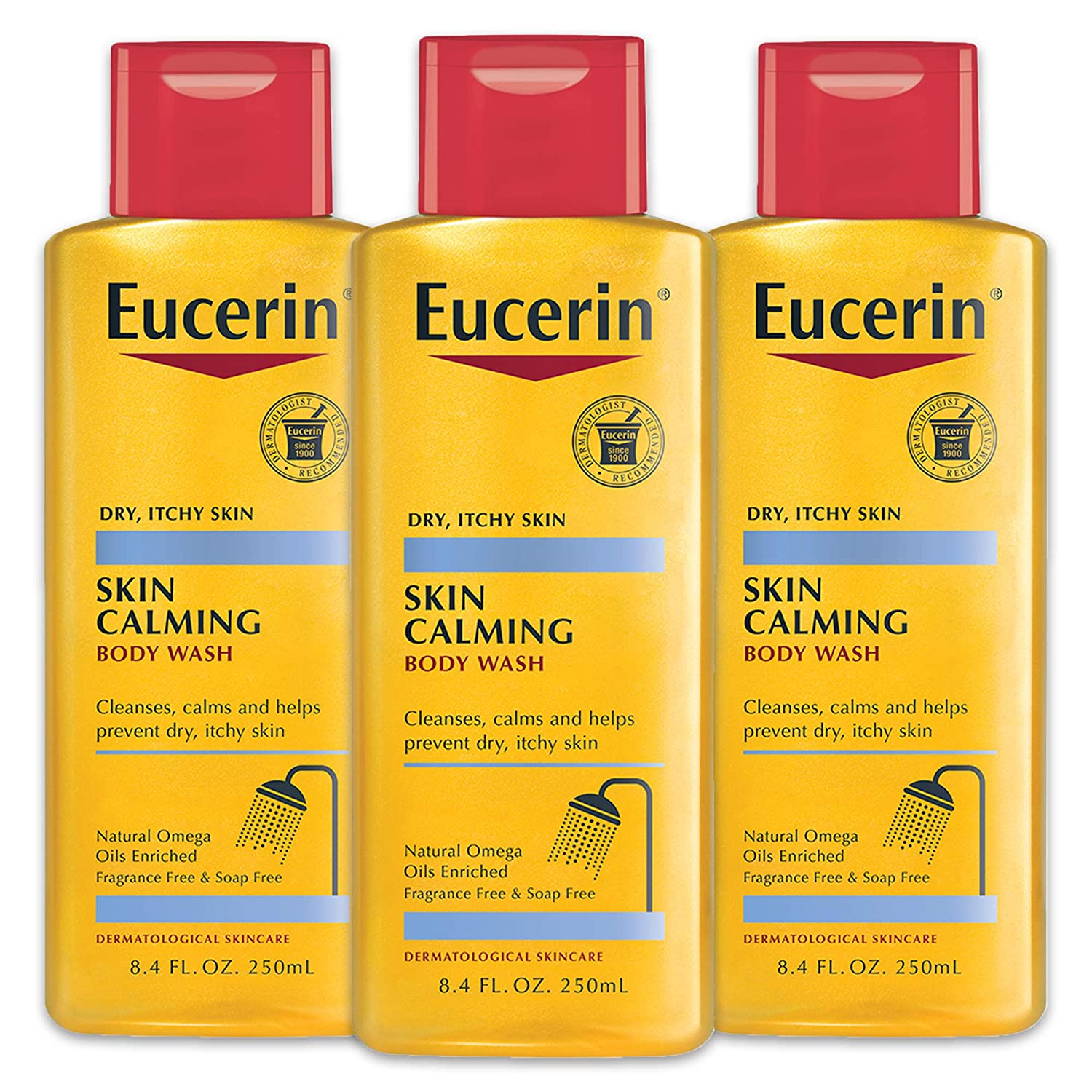 Calming Body Wash Daily Shower Oil by Eucerin for Unisex - 8.4 oz Body Wash (pack of 3)