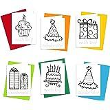 Amazon Happy Birthday Kid Set Of Coloring Greeting Cards