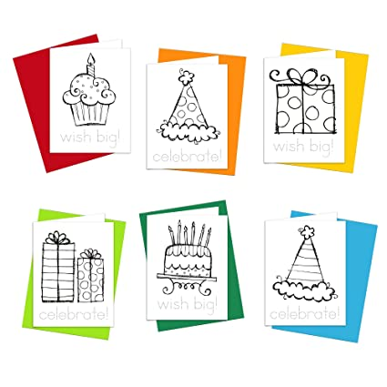 Amazon birthday cards happy birthday doodles greeting cards birthday cards happy birthday doodles greeting cards for kids to color trace letters and m4hsunfo