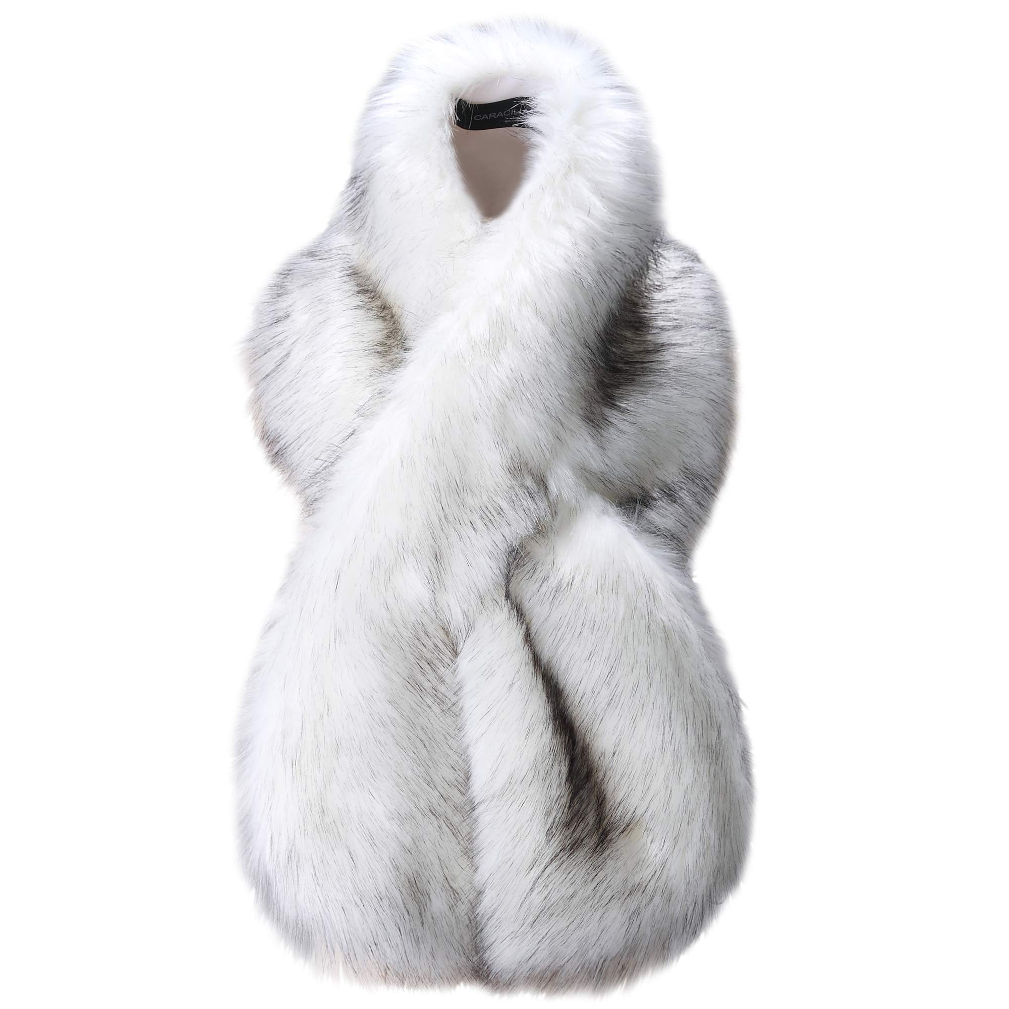 Caracilia Winter Fashion Faux Fox Fur Collar Scarf Collar Women White Fox 120CA97