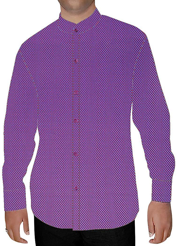 INMONARCH Mens Purple Cotton Nehru Collar Shirt Hawaiian NSH15379XX-LARGE XX-Large Purple