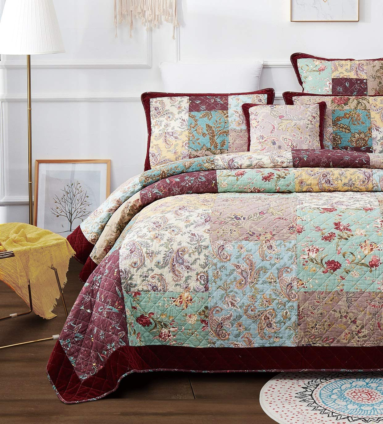 DaDa Bedding Bohemian Patchwork Bedspread - Cotton Burgundy Wine Velvety Trim - Vintage Floral Roses Paisley - Bright Vibrant Multi-Colorful Quilted Set - King - 3-Pieces
