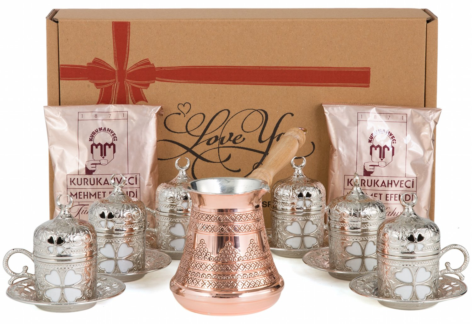 CopperBull Premium Turkish Greek Coffee Espresso Full Set with Copper Pot, Cups, Coffee for 6 (Silver) by CopperBull (Image #1)