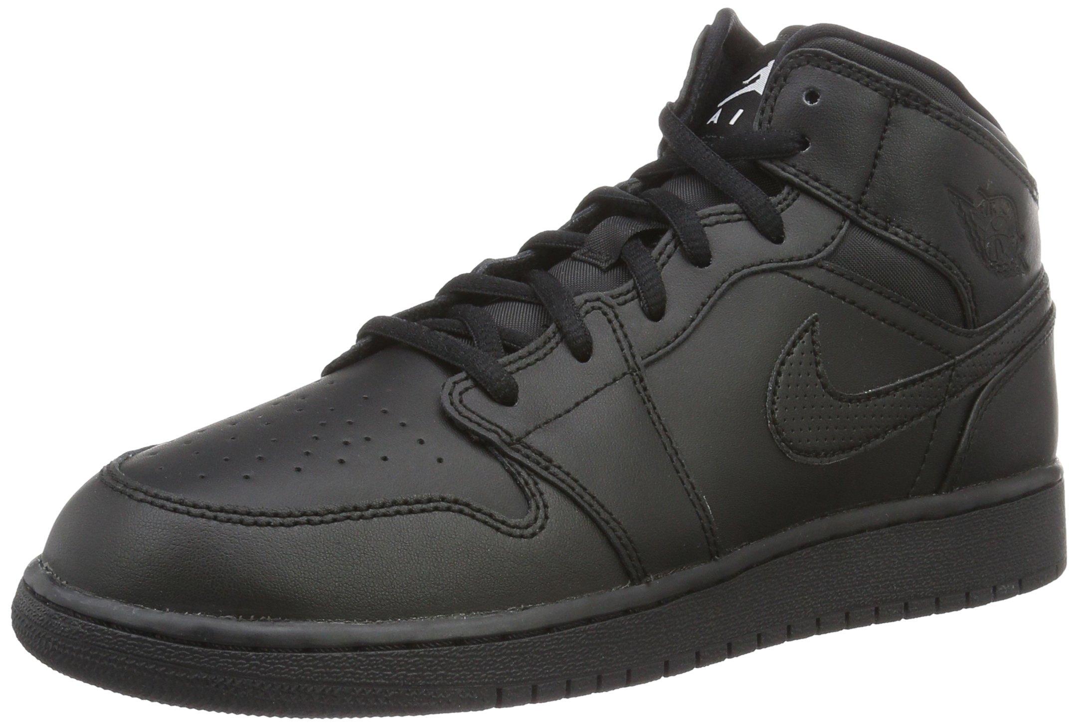 100% high quality nice shoes casual shoes NIKE Air Jordan 1 Mid BG Sneaker All Black, EU Shoe Size:EUR 38.5