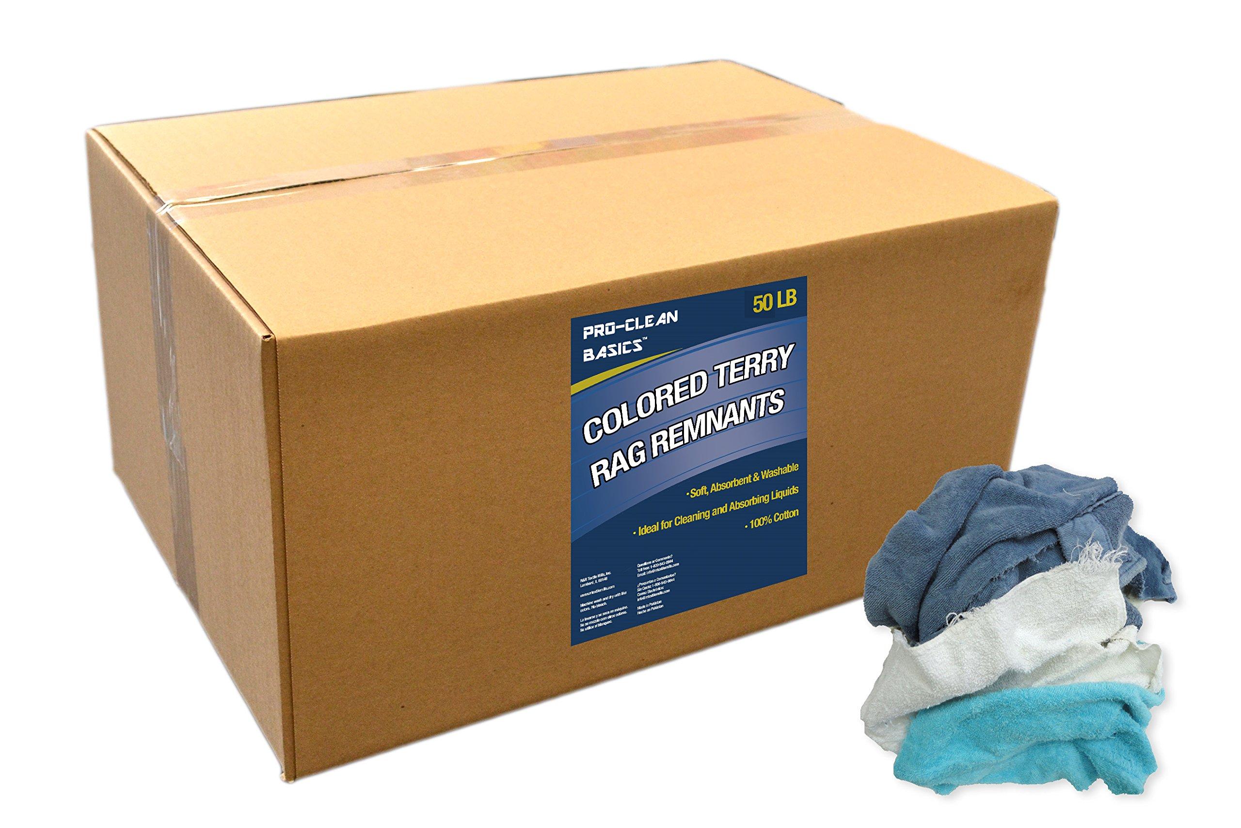 Pro-Clean Basics 99402 Colored Terry Cloth Remnants, 50 lb. Box