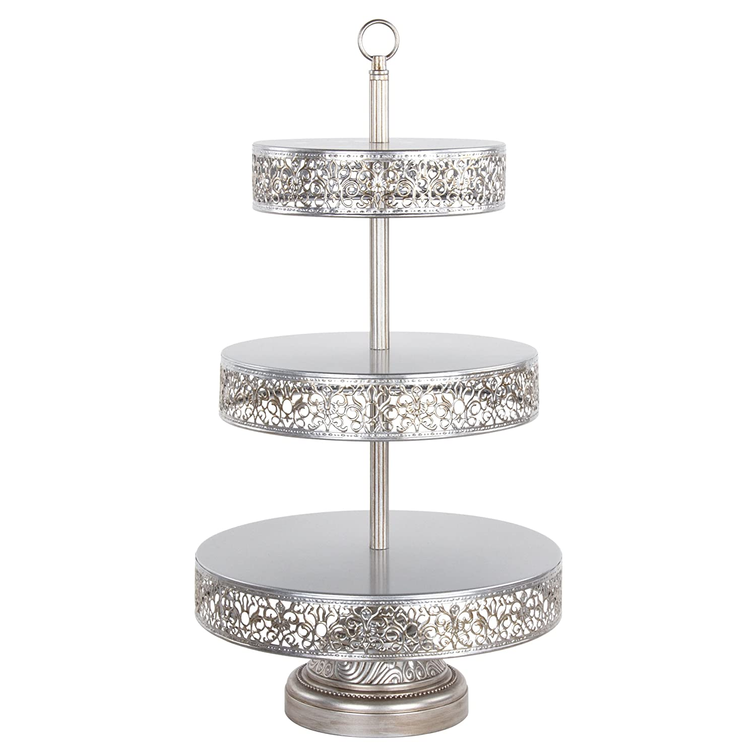 "Victoria Collection' 3 Tier Dessert Stand with Reversible Tiers, Cupcake Tower Display, 22"" Tall (Silver)"
