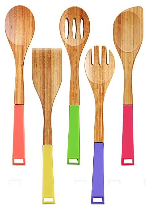 Bamboo Utensil Set - Eco-Friendly Material - Ideal For Cooking - Utopia Kitchen (5 Piece - Vibrant)