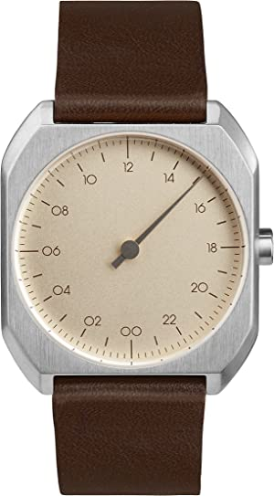 slow Mo 08 - Swiss Made one-hand 24 hour watch - Silver with dark brown leather band