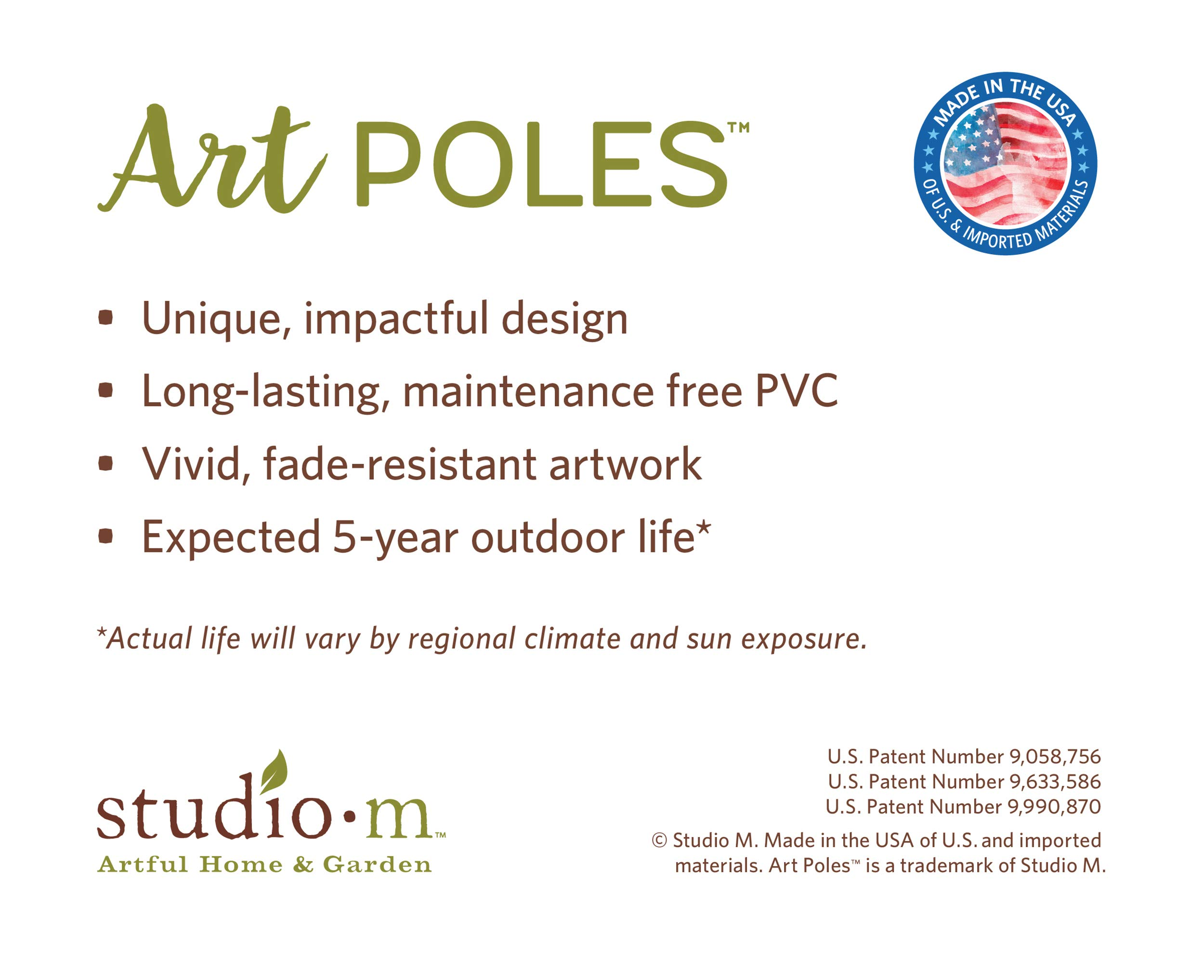 Studio M Love Garden Art Pole Bold Floral Outdoor Decorative Garden Post, Made in USA, 40 Inches Tall by Studio M (Image #6)