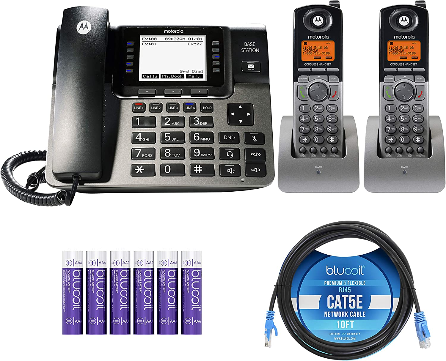 Motorola ML1002H (ML1000 x1, ML1200 x2) DECT 6.0 Expandable 4-Line Business Phone System with Digital Receptionist and Answering System Bundle with Blucoil 10-FT Cat5e Cable, and 6 AAA Batteries