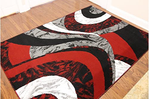 Royal Trading Eldorado Modern Design Printed Swirls Area Rug, Luxurious, Elegant, and Fashionable Area Rug 5 3 X7 2, Red and Black