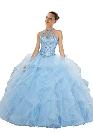 Mollybridal Halter Sheer Neck Ruffled Ball Gown Crystal Quinceanera Prom Dresses Lace up Light Blue 2