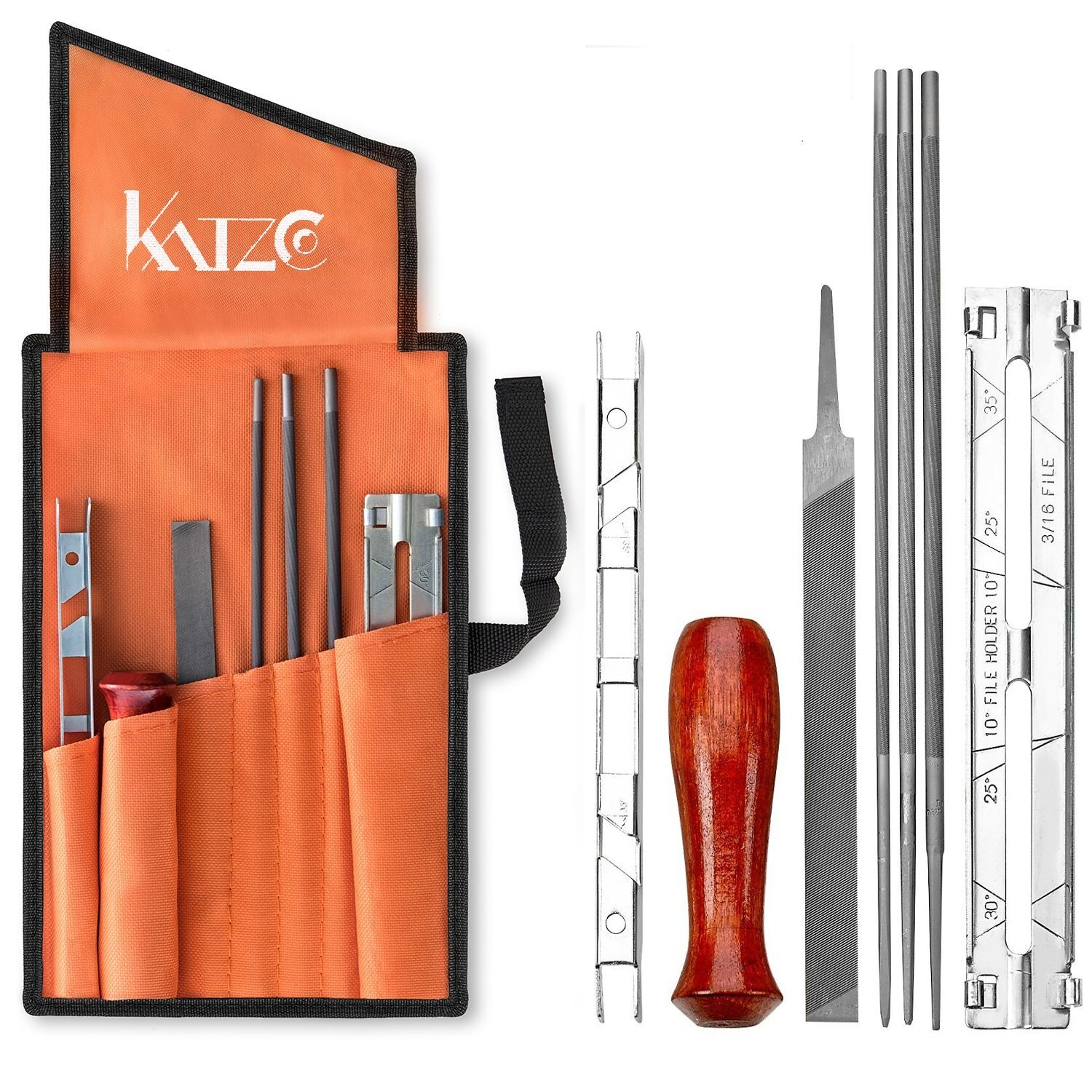 Katzco Chainsaw Sharpener File Kit - Contains 5/32, 3/16, and 7/32 Inch Files, Wood Handle, Depth Gauge, Filing Guide, and Tool Pouch - for Sharpening and Filing Chainsaws and Other Blades by Katzco