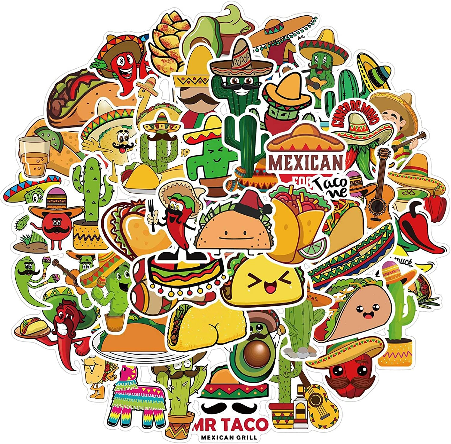 Mexican Food Stickers Taco Stickers 50pcs Laptop Waterproof Vinyl Stickers for Boys Teens (Food)