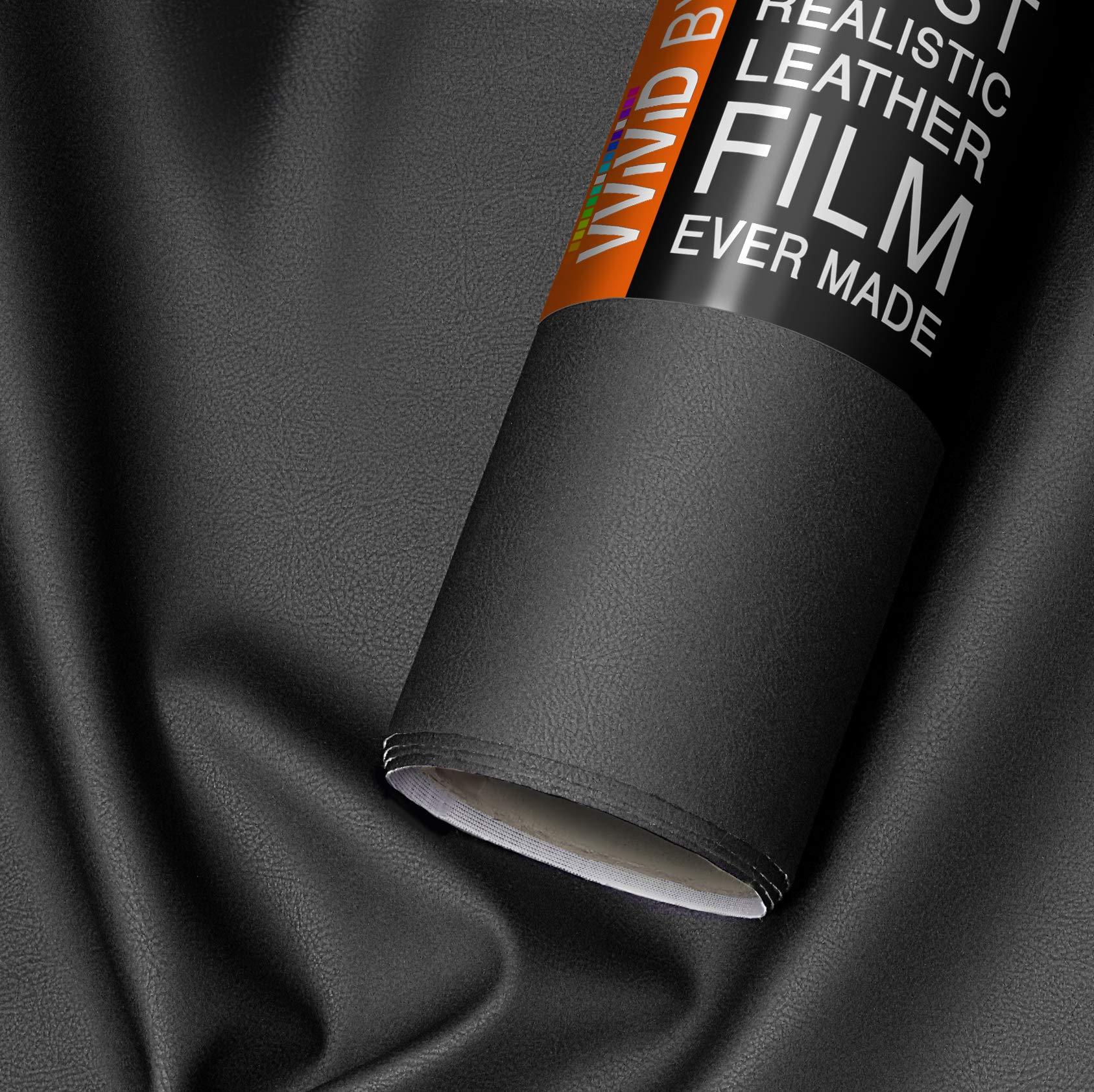 VViViD Bycast65 Black Matte Buffed Full-Grain Faux Leather Marine Vinyl Fabric (25ft x 54'')
