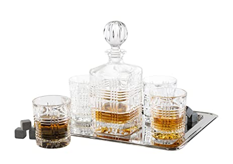 Fitz And Floyd 5 Piece Portland Crystal Whiskey Barware Set With 12 Granite  Whiskey Stone