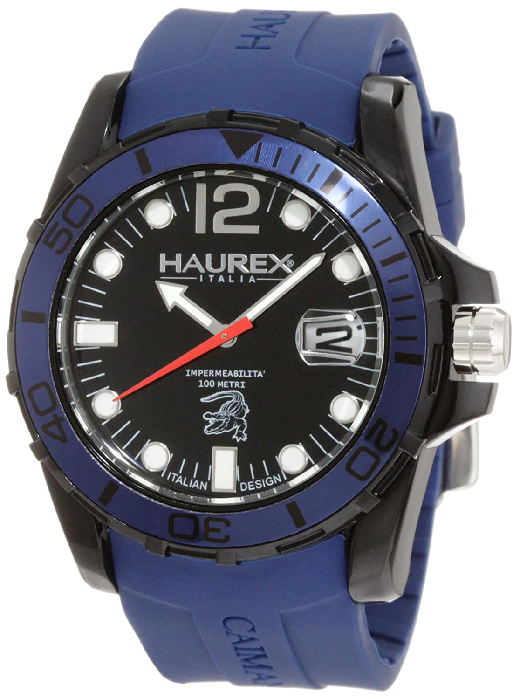 Haurex Italy Men s N1354UNB Caimano Luminous Blue Rubber Watch
