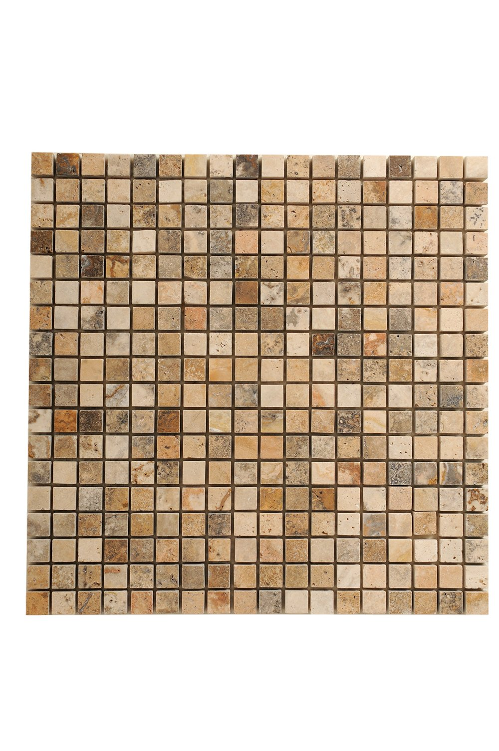 SCABOS TRAVERTINE 5/8''X5/8'' POLISHED MOSAIC TILE - 5 SQF BOX