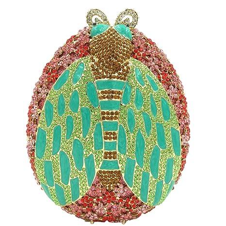 Bolsas Mujer Bolso Noche Fiesta Boda Carteras Brillo Mano Diamantes Cadena Embrague Escarabajo Verde
