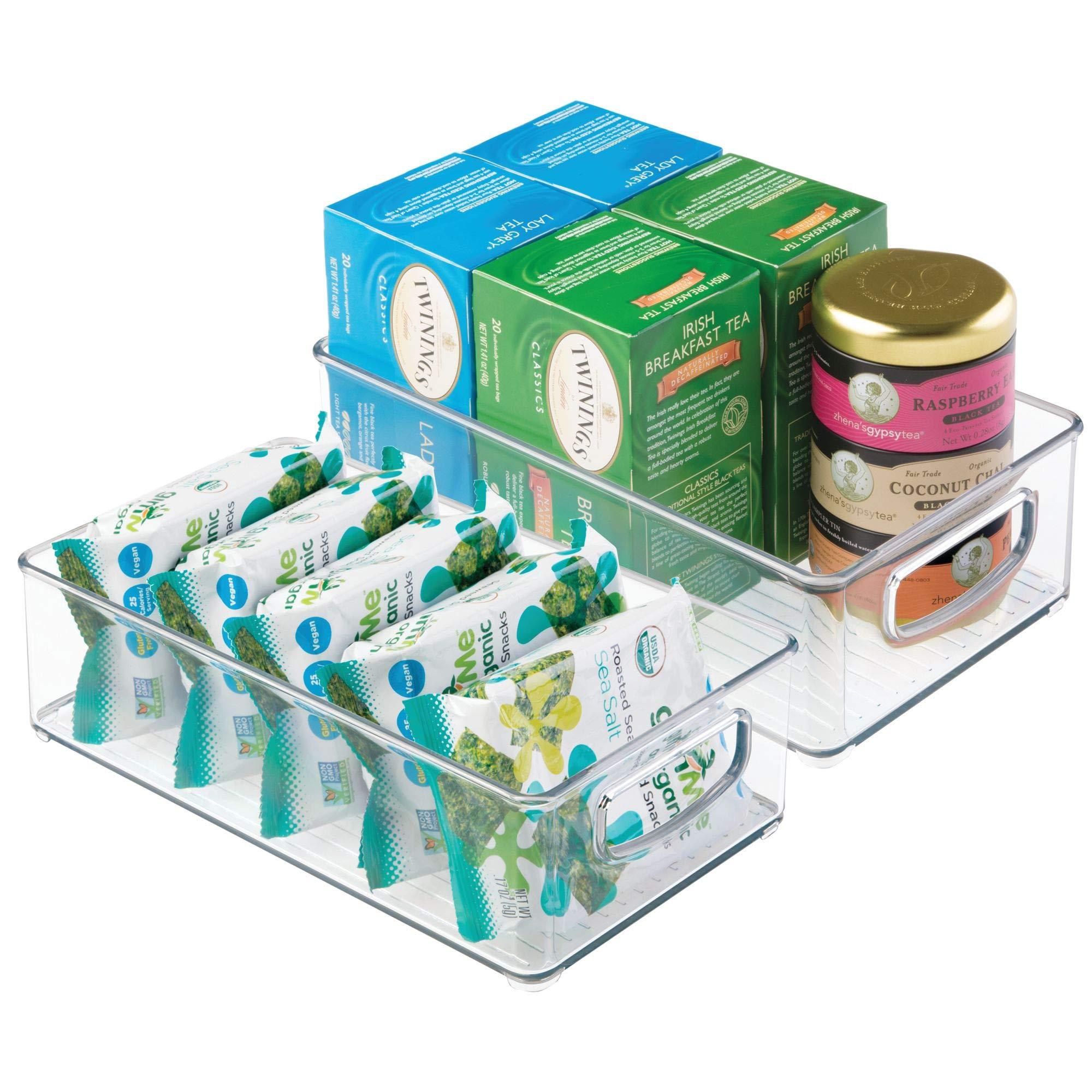 mDesign Plastic Kitchen Pantry Cabinet, Refrigerator or Freezer Food Storage Bins with Handles - Organizer for Fruit, Yogurt, Snacks, Pasta - Food Safe, BPA Free, 10� Long - 2 Pack, Clear